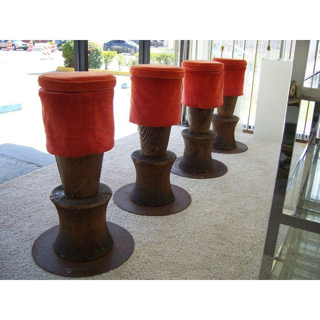 Original creation for the Morgans Hotel in New York, designed by Andrée Putman. These beautiful totem stools in rustic...