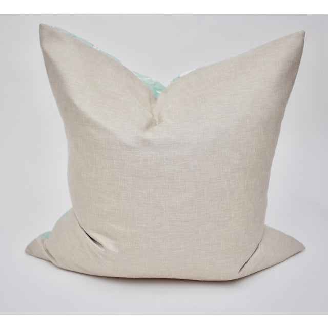 """Beautifully handmade Isobel """"60 Oaks"""" 25"""" Square Belgian Linen pillow in colorway """"Seafoam."""" Features a linen backing from..."""