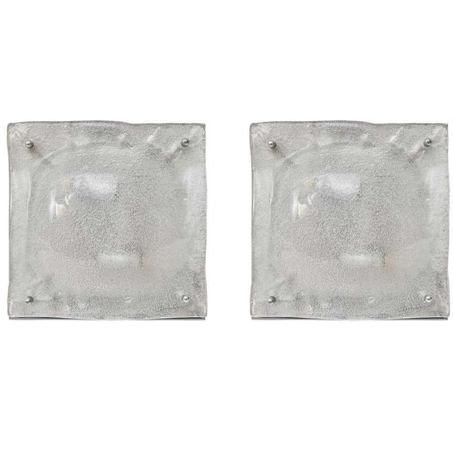 Mid-Century Modern Mazzega Murano Glass Square Sconces - a Pair For Sale - Image 12 of 13