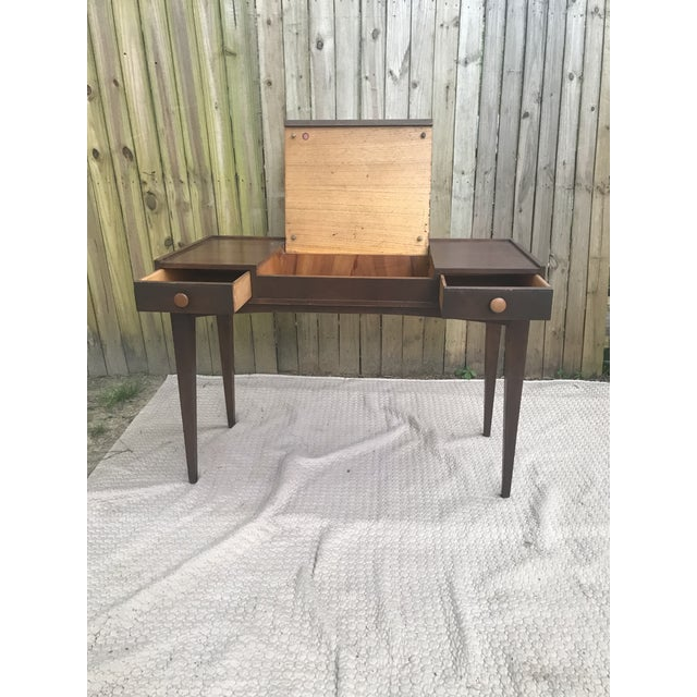 Vintage Danish Modern Teak Vanity Desk/Table. The lid has no mirror. Lid opens to a deep well with hidden compartment. A...