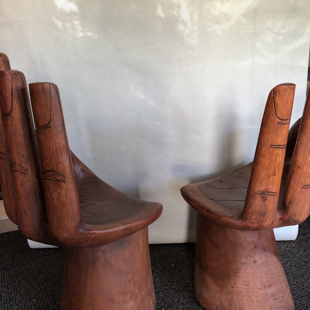 1980s Wooden Pedro Friedeberg Style Hand Chairs- a Pair For Sale - Image 5 of 9