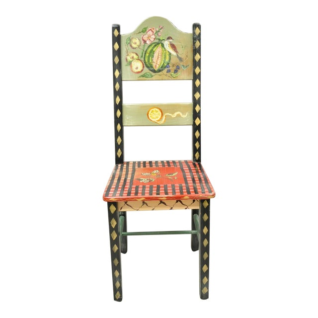 Late 20th Century French Country Style Handpainted Fruit Bird Butterfly Side Chair For Sale