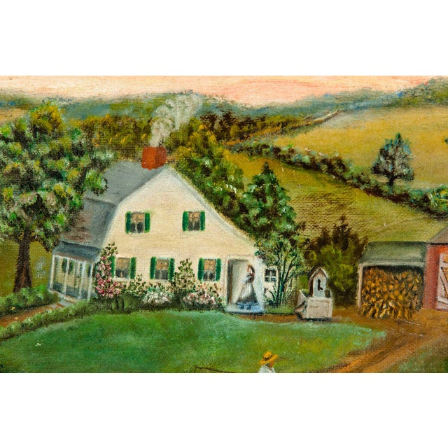 Country Mid-20th Century Wood Framed Oil / Board Painting For Sale - Image 3 of 10