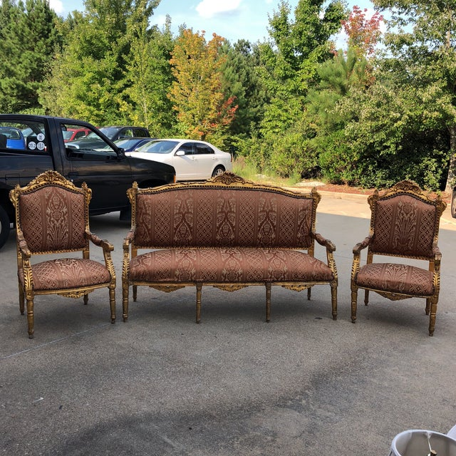 1930s Vintage Imperial Gilded French Sofa and Chairs - Set of 3 For Sale - Image 11 of 11