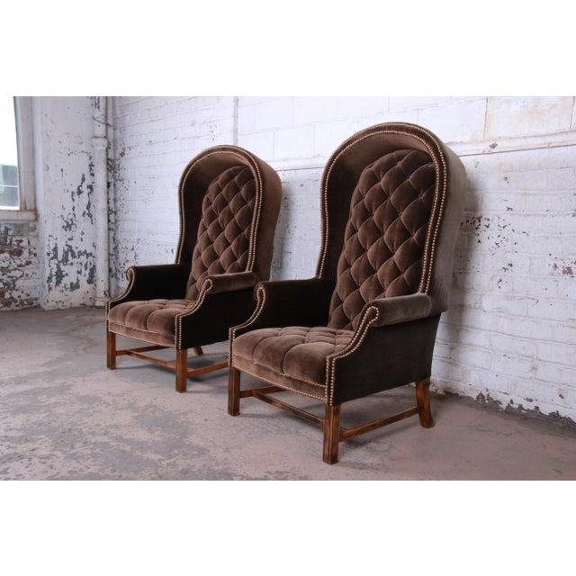 Hollywood Regency Midcentury Brown Velvet Porter's Chairs, Pair For Sale - Image 3 of 12
