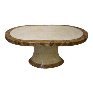 1980s Mosaic Onyx Racetrack Illuminated Base Dining Table For Sale
