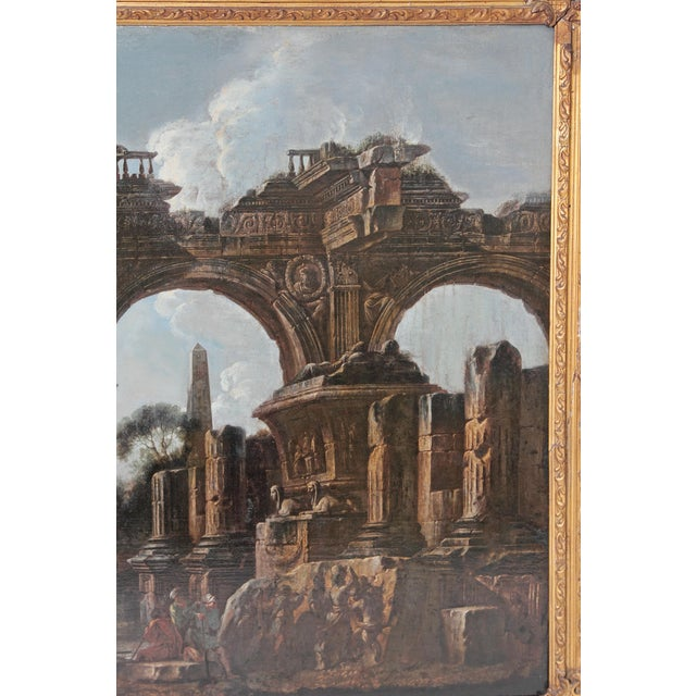 17th Century Baroque Painting / Classical Ruins Attributed to Giovanni Ghisolfi (1623-1683) For Sale - Image 5 of 13