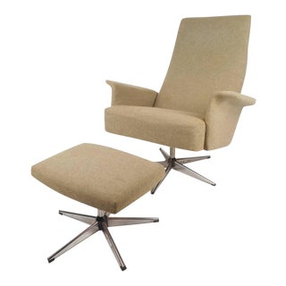 Mid-Century Modern Adjustable Danish Lounge Chair and Ottoman