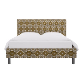Queen Tailored Platform Bed in Gold Lellani For Sale