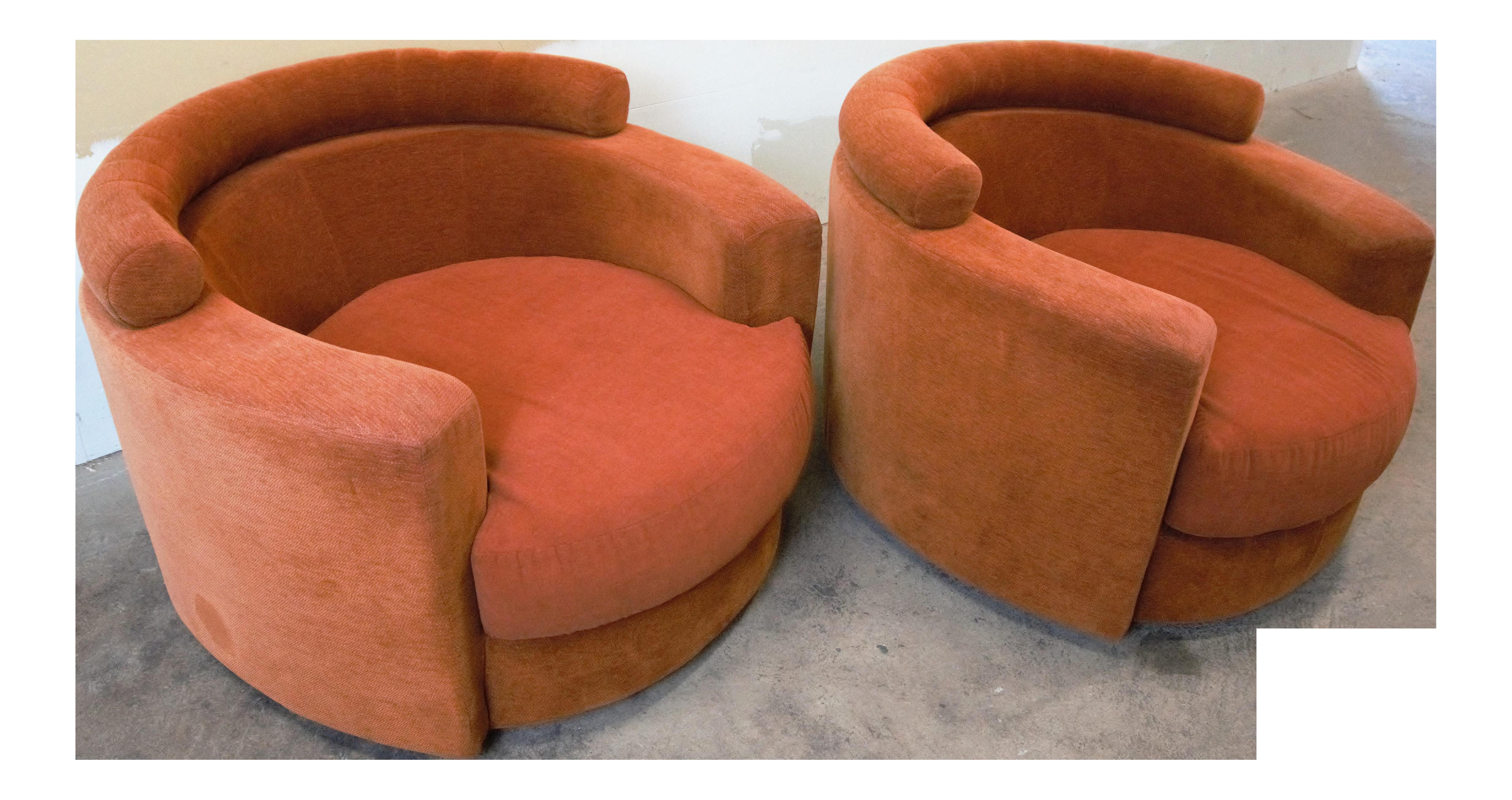 Roche Bobois Burnt Orange Swivel Chairs   A Pair