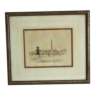 Circa 1900 Place De La Concorde Etching For Sale