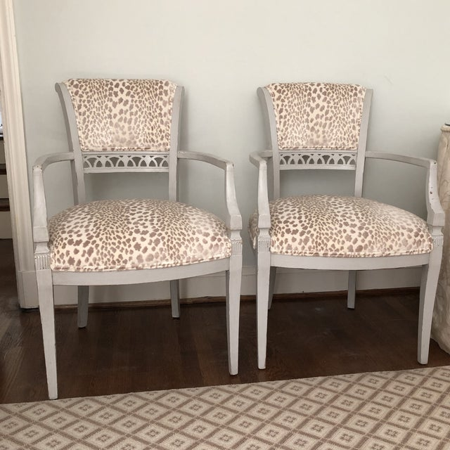 Cowtan & Tout Velvet Leopard Upholstered Gray Arm Side Chairs - a Pair For Sale - Image 9 of 9