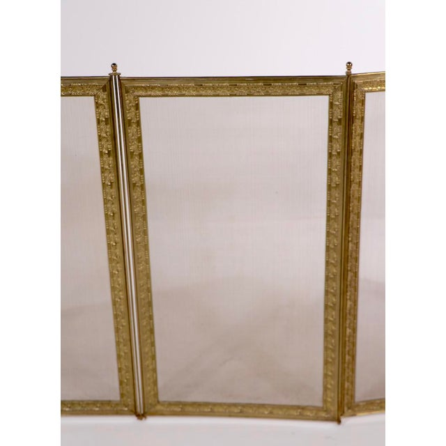 Brass French Folding Fireplace Screen Spark Gard For Sale - Image 8 of 13