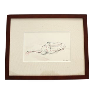 Framed Pink & Grey Reclining Figure Drawing by Michelle Arnold Paine For Sale
