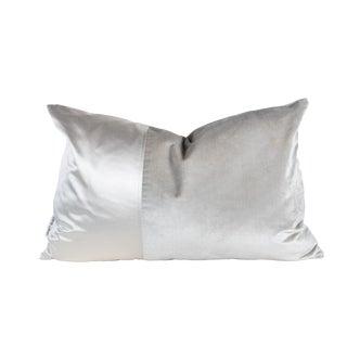 Transitional Silver Satin Velvet Pillow - 16 X 24 For Sale