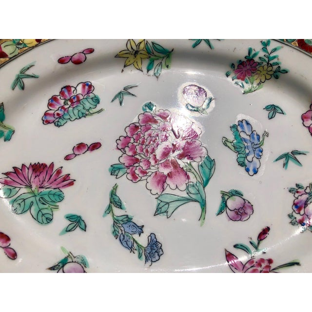 1960s Colorful Floral Gilt Chinoiserie Peony Platter For Sale - Image 5 of 9