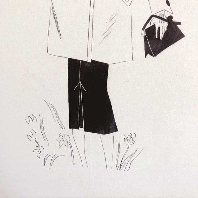 Mid-Century Modern 1940s Fashion Sketch For Sale - Image 3 of 7