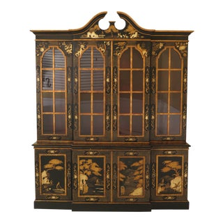1980s Chinoiserie Decorated 4 Door Breakfront Bookcase For Sale