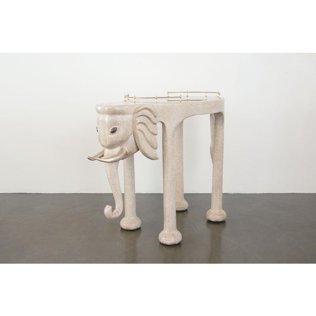 Marge Carson Elephant Bar Rolling Table For Sale In Seattle - Image 6 of 9