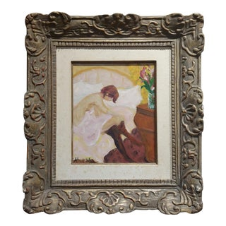 Albert Mohr -Woman Undressing in Bed - 1950s French Impressionist Oil Painting For Sale