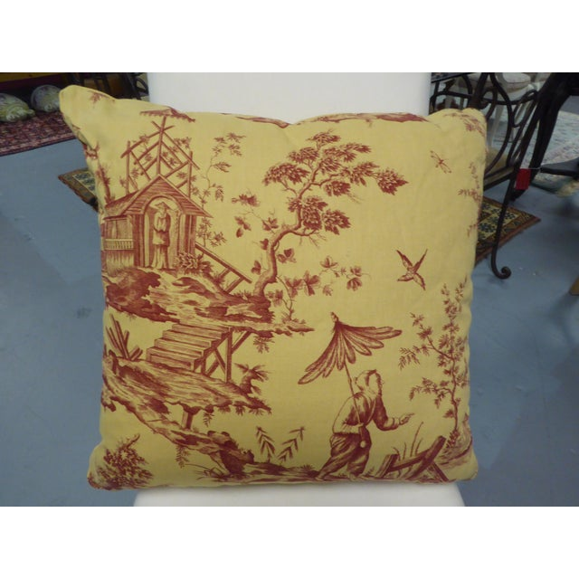 Large Pillow with Fishing Scene Details - Image 2 of 4