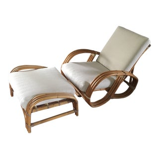 Pretzel Bamboo Rattan Lounge Chair & Ottoman For Sale