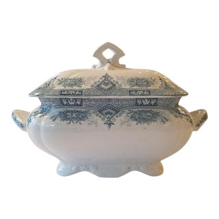 1910s French Transferware Lidded Tureen For Sale