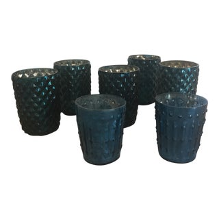 Blue Mercury Glass Votives - Set of 7 For Sale