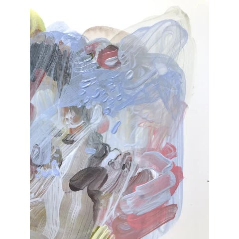 """Dana Oldfather Dana Oldfather """"Soft Armor 4"""" Abstract Colorful Painting on Paper For Sale - Image 4 of 5"""
