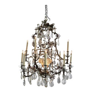 Vintage Maison Bagues Rock Crystal Chandelier For Sale