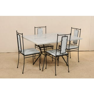 Mid-Century Modern Marble-Top Patio Dining Set - 5 Pieces Preview