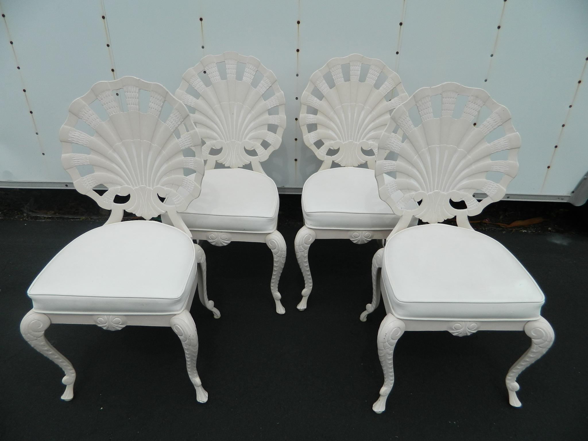Vintage Cast Aluminum Shell Back Grotto Chairs   Set Of 4   Image 2 Of 11