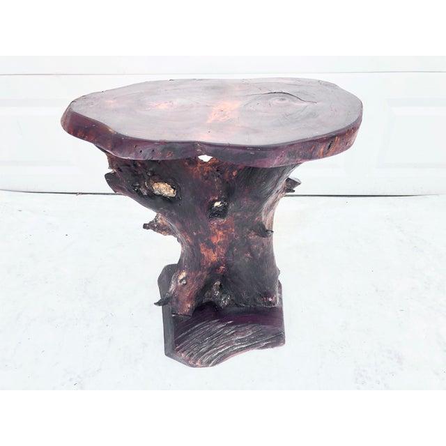 Wood Vintage Primitive Live Edge Pedestal Table For Sale - Image 7 of 13