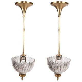 Pair of Crystal and Brass Pendant Lights, Hollywood Regency For Sale