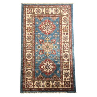 Boho Chic Hand-Knotted Blue Kazak Carpet - 2'6 X 4'4 For Sale