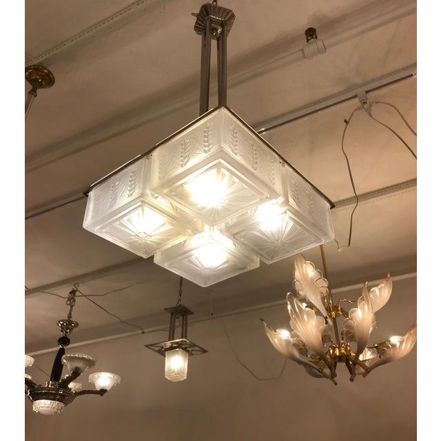 Silver French Art Deco Chandelier by Hettier and Vincent For Sale - Image 8 of 12