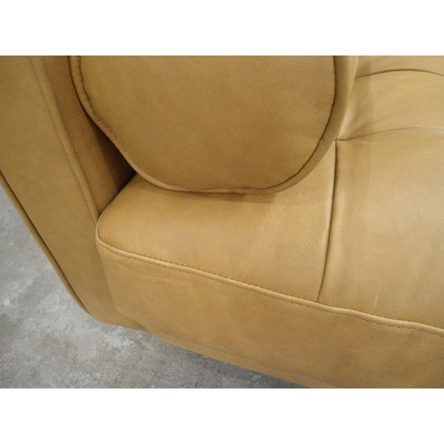 Animal Skin Tan Leather Sectional Sofa, Right Chaise, Tufted Seating For Sale - Image 7 of 8