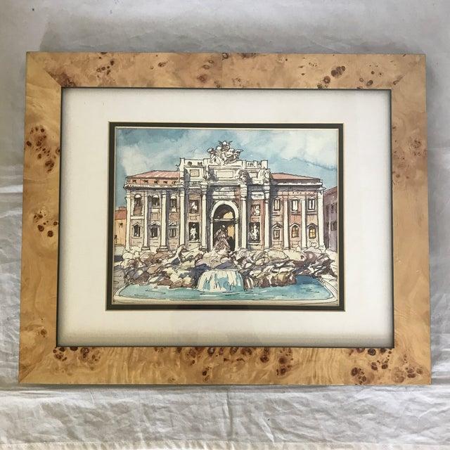 1990s Contemporary Framed Italian Roman Trevi Fountain Illustration For Sale - Image 5 of 5