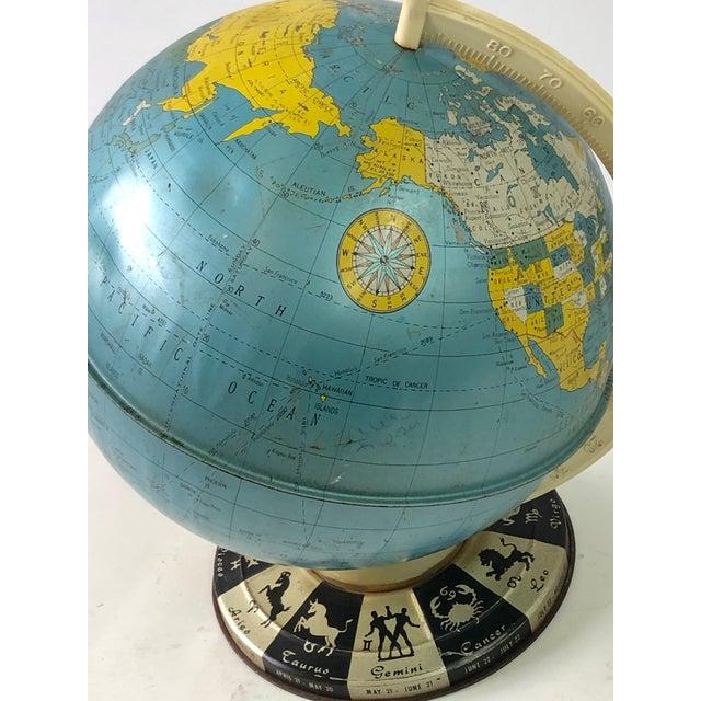 Retro Metallic World Globe With Zodiac Base For Sale - Image 11 of 13