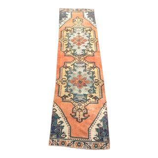 Antique Turkish Orange Handmade Hallway Runner Rug - 2′11″ × 11′5″ For Sale