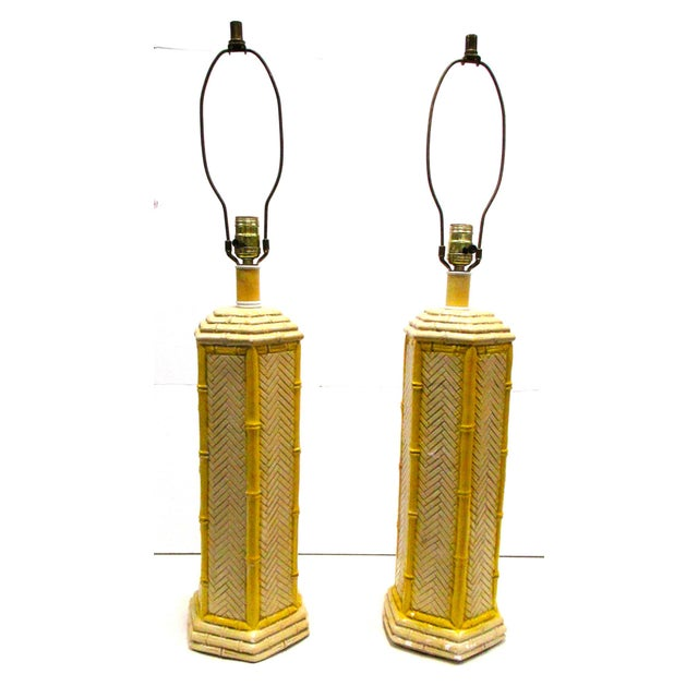 Pr Vintage Yellow Porcelain Faux Bamboo Lamps - a Pair - Image 2 of 4