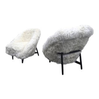 Theo Ruth for Artifort Pair of 1950s Chairs Newly Covered in Sheep Fur