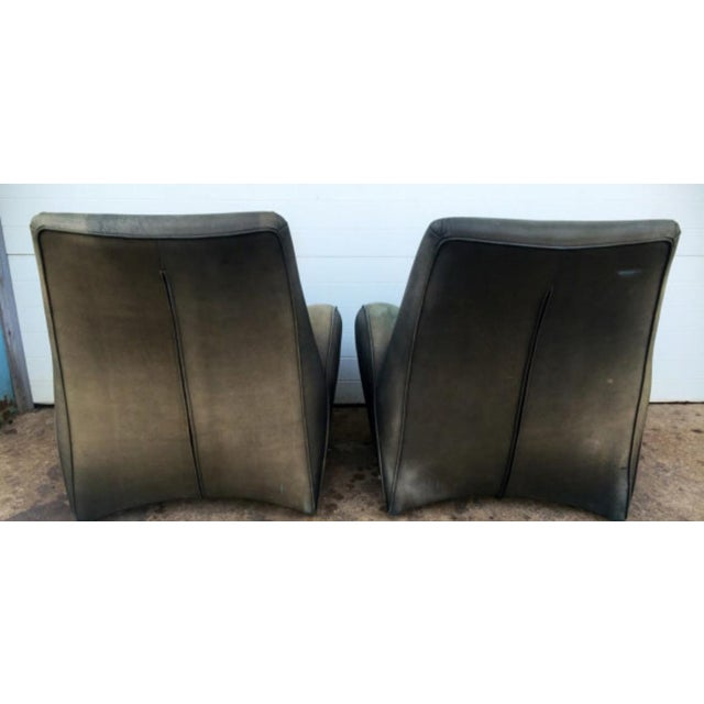 American Leather Distressed Modern Lounge Chairs - A Pair - Image 6 of 6