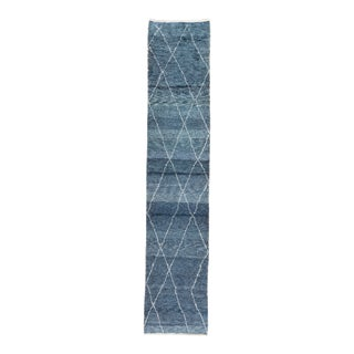 "Blue Moroccan Rug, 2'11"" X 14'7"" For Sale"