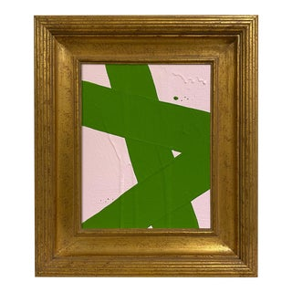 Ron Giusti Mini Abstract Light Pink Kelly Painting, Framed For Sale