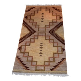 1980s Handwoven Navajo Inspired Rug - 3′10″ × 9′ For Sale