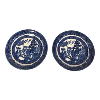 Vintage Antique England Johnson Blue Willow Pattern Saucers Small Plate Saucers - a Pair For Sale
