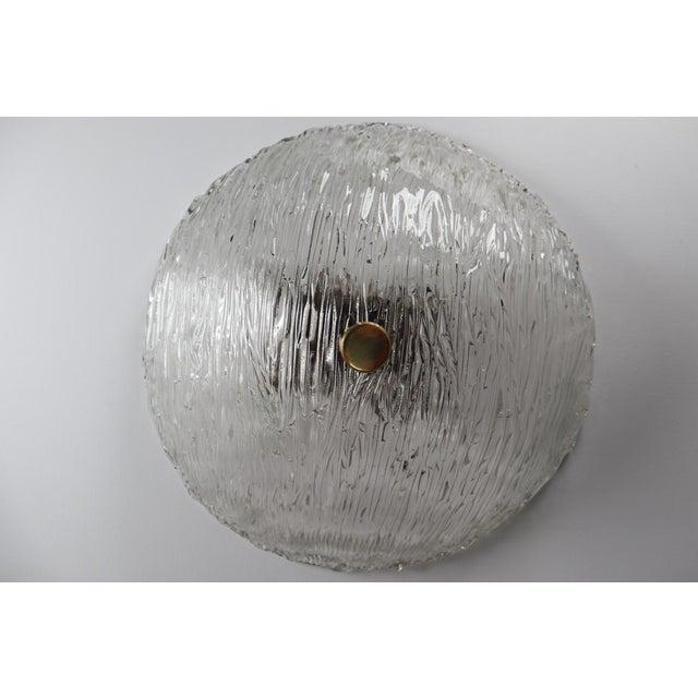 Round Modernist Textured Ice Glass Flush Mounts By Kalmar Austria For Sale - Image 12 of 12