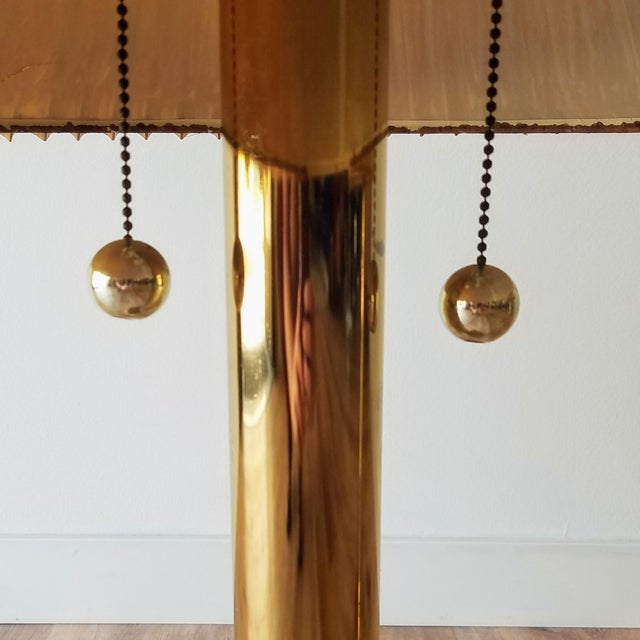Mid-Century Brass Table Lamps With Original Shades - a Pair For Sale - Image 4 of 13