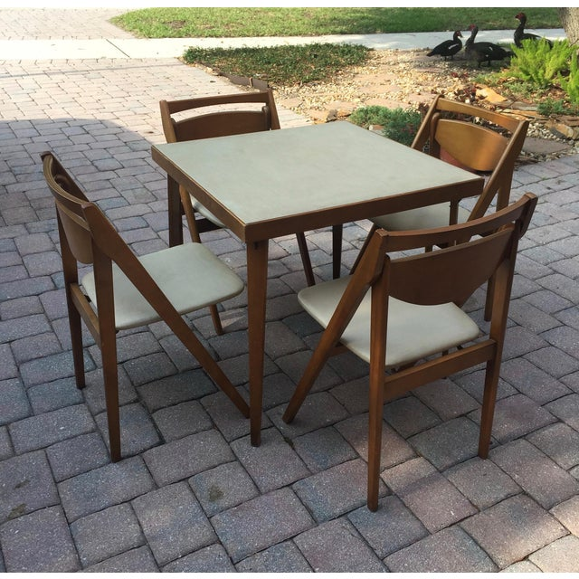 Mid -Century Modern Stakmore Folding Bentwood Table & Chairs- Set of 5 For Sale - Image 13 of 13